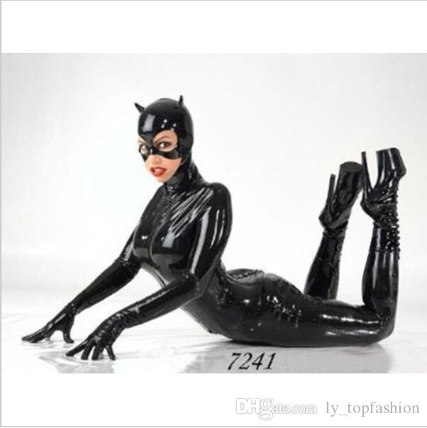 Latex Catsuit Faux Leather Cat Women Jumpsuits Black Stretch PVC Bodysuits Sexy Bodycon One-pieces Lingerie Spider-man Costume