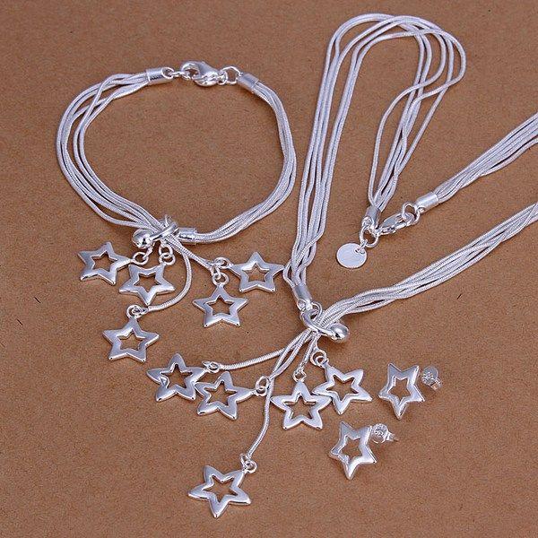 Hochzeit Tai Chi Hängen Fünf Sterne Sterling Silber Überzogene Schmucksets für Frauen DMSS138, Heiße 925 Silber Platte Halskette Armband Ohrring Set