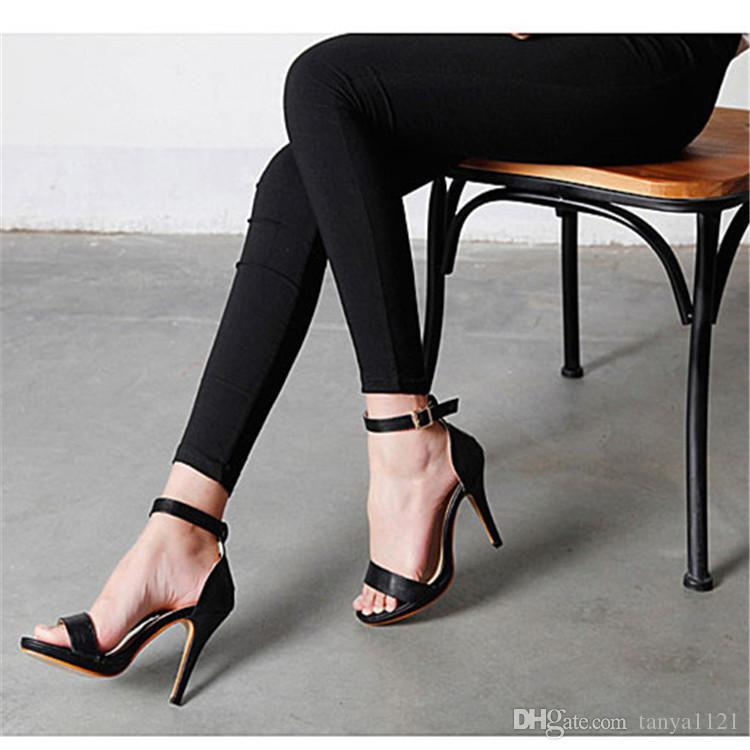 ff3cb3fb9e9 Office Lady Sandals Graduation Prom Party Dance Womens Shoes High Heels  Platform Shoe Heel 10 Cm Buckle Strap White Black Fast Shipping Platform Heels  Black ...