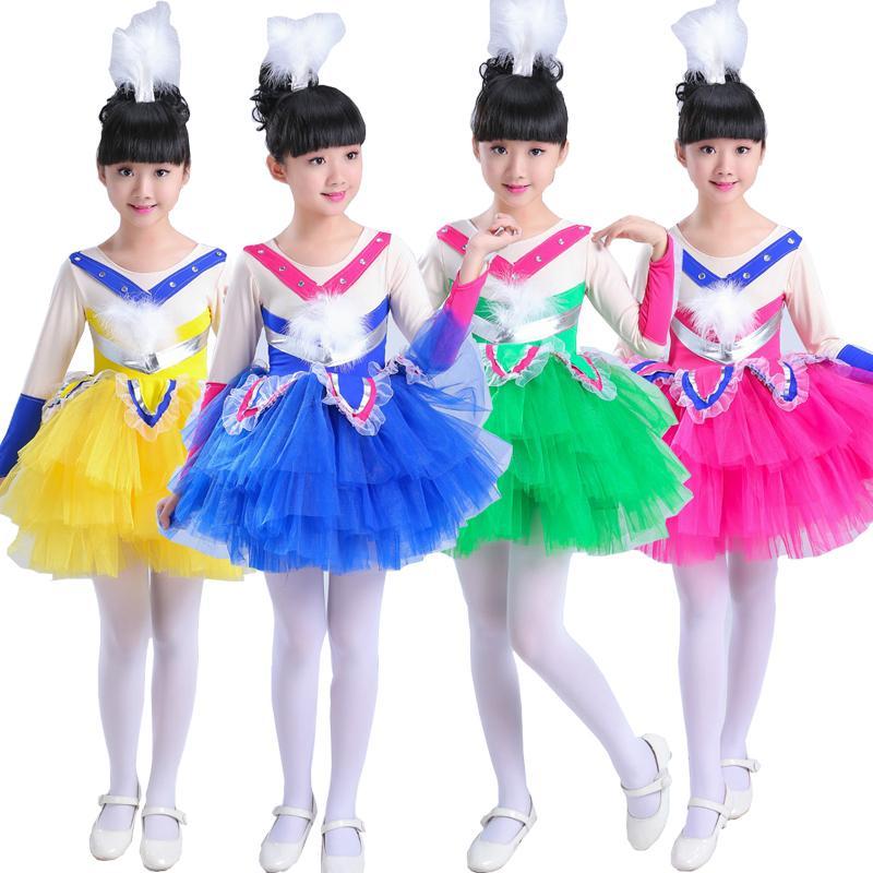 87a6b1781f6 Acheter KIDS Moderne Latin Dancewear Robe Filles Ballet Dancewear Princesse  Vêtements Danse Costumes Enfants Salle De Bal Performance TUTU Danse Robe  De ...