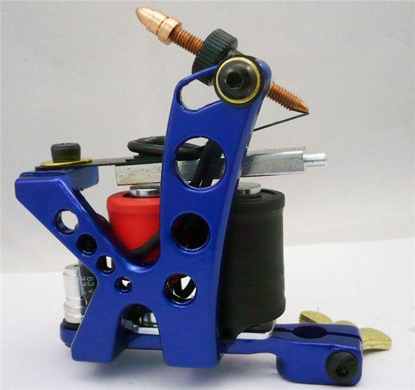 Máquina de tatuaje de hierro fundido profesional 10 Wraps bobina de acero inoxidable tatuajes Body Art Gun herramienta de maquillaje 1110488