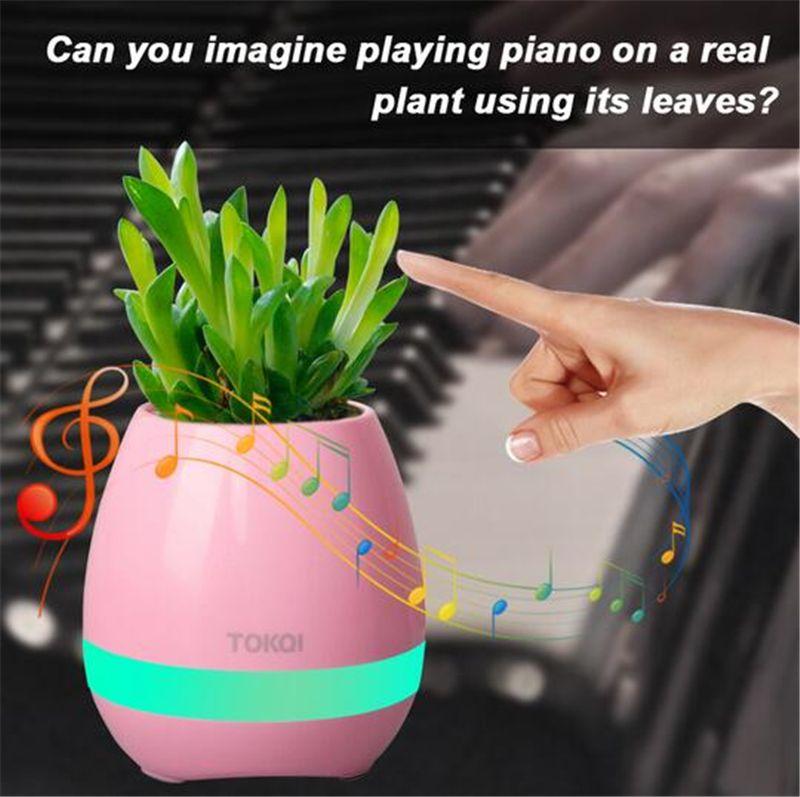 Plant Pots Smart wireless Bluetooth Speaker Office Mini Colorful LED light Touch Piano Music Universal Phone Subwoofer Flowerpot Speaker