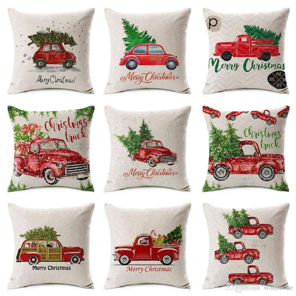 15 Styles Merry Christmas Holiday Cushion Covers Red Retro Vintage ...