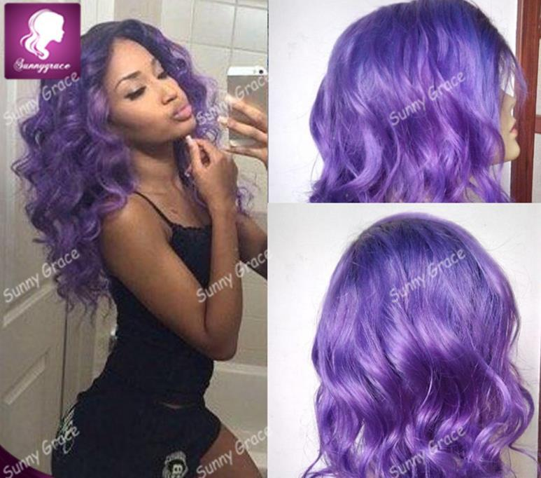 New Fashion 1B Purple Ombre Glueless Full Lace Human Hair Wigs Peruvian  Virgin Hair Ombre Lace Front Wig For Black Women Premium Now 100 Human Hair  ... e410f4e4e