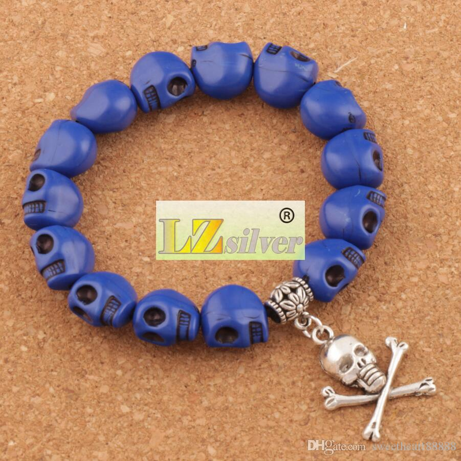 Hot Prayer Acrylic Colorful Skeleton Skull Beaded Bracelets Strands Elastic Unisex BB65 7inch