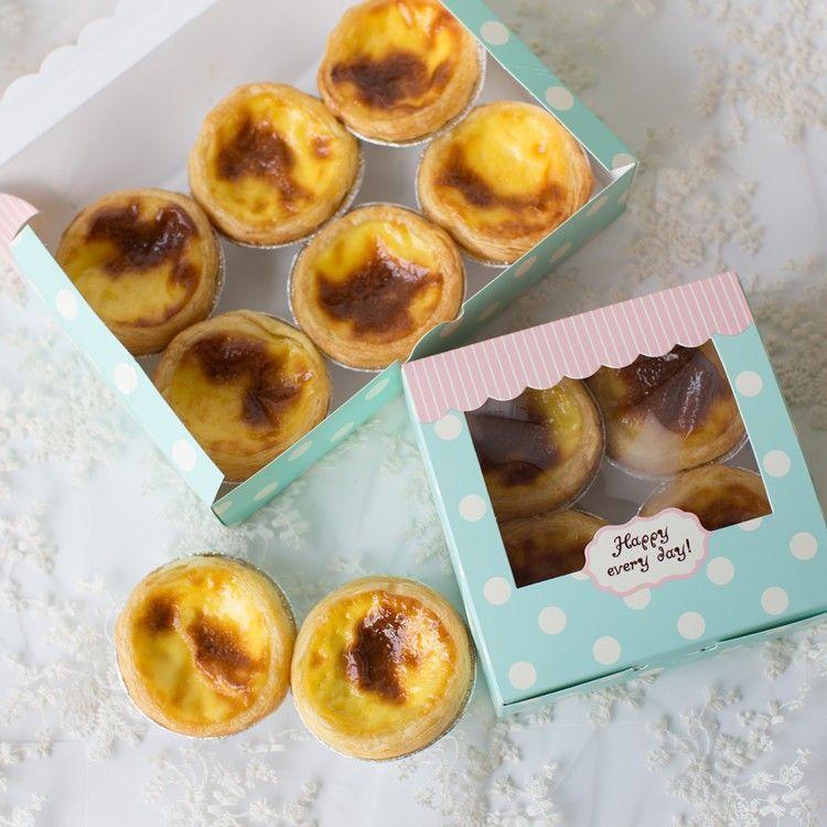 Spedizione gratuita vintage polka dots decorazione finestra modello piccolo dessert torta scatola uovo crostata scatole di imballaggio imballaggio di alimentazione
