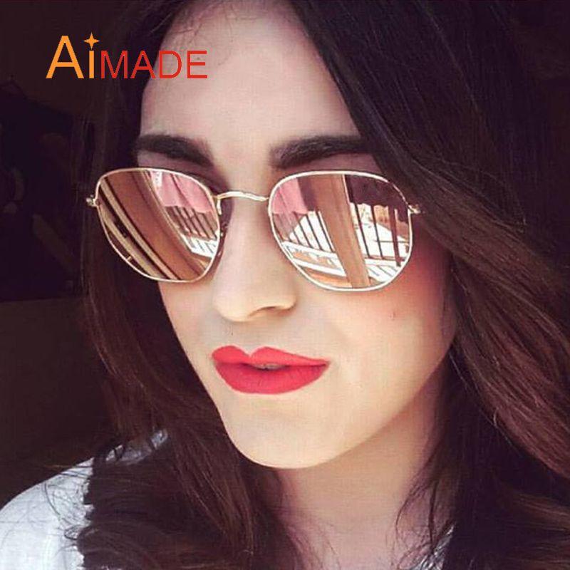 ec89a3532d8 Wholesale Aimade 2016 New Hexagonal Flat Lenses Polarized Sunglasses Women  Men Brand Designer Vintage Aviation Driving Fishing Sun Glasses Victoria  Beckham ...