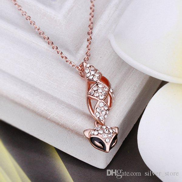 Brand new mosaic white crystal 18K gold Necklaces for women,Brand new Rose Gold gem pendant Necklaces include chains SGN617