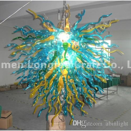AC LED Light Source Glass Chandeliers Modern Art Deco 100% Mouth Blown Glass Chandelier Style Custom Made Glass Lighting