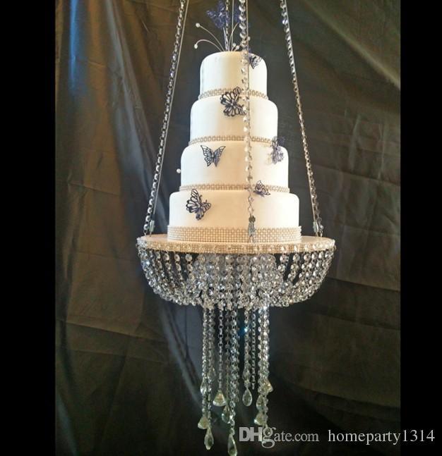 لوازم كعكة الزفاف طويل القامة الكبيرة حامل كريستال أكريليك متعدد الطبقات كعكة الجدول المركزية الكريستال الزفاف زهرة حامل العرض