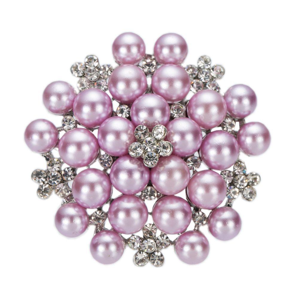 2.2 Inç Rodyum Gümüş Kaplama Temizle Rhinestone Kristal Beyaz Sahte İnci Kar Çiçek Gelin Broş Takı