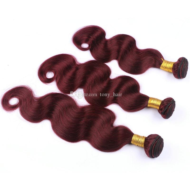 Brazilian Burgundy Body Wave Virgin Human Hair With 360 Lace Frontal Closure #99J Wine Red 360 Full Lace Band Frontals