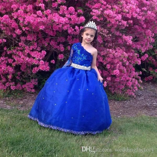 Blue Girls Pageant Dresses for Teens One Shoulder Illusion Long Sleeve Beaded Crystals Lace Appliques Puffy Kids Formal Gown