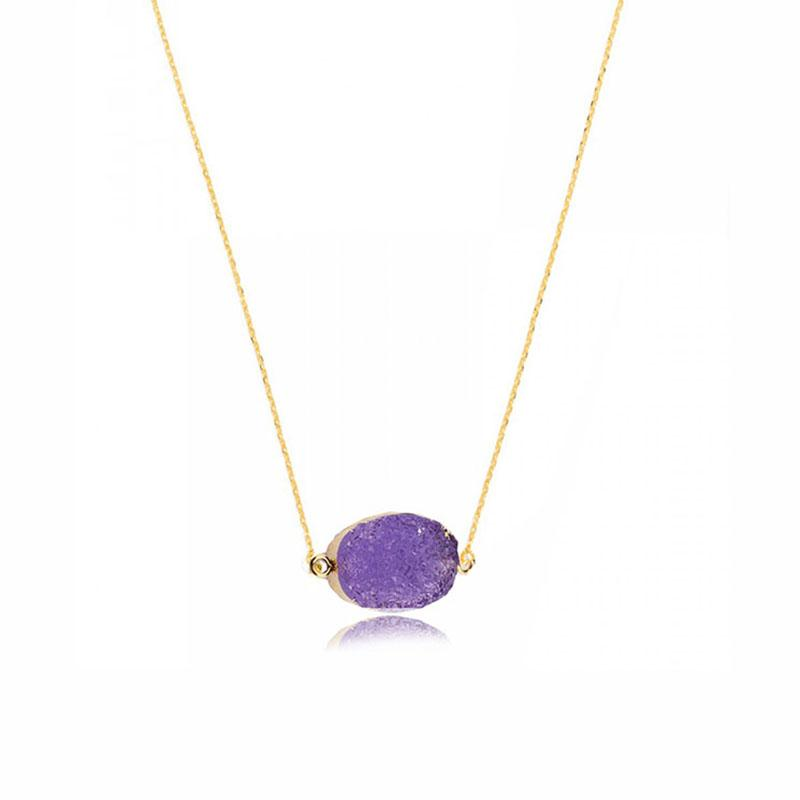 Natural stone necklace irregular resin package gold pendants necklace Europe and the United States new products