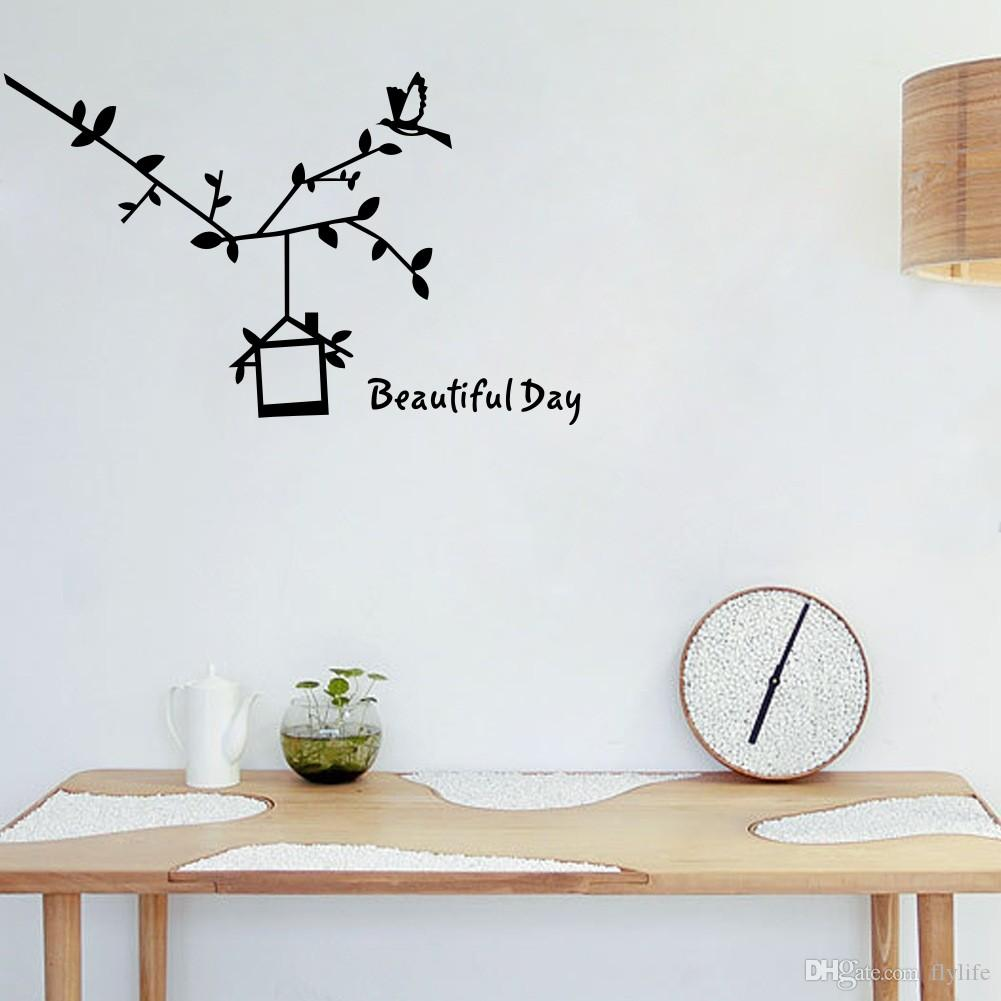 Bird Cage Branch Wall Sticker Quote Beautiful Day Decor Decals For - Beautiful-wall-stickers-to-decorate-your-house
