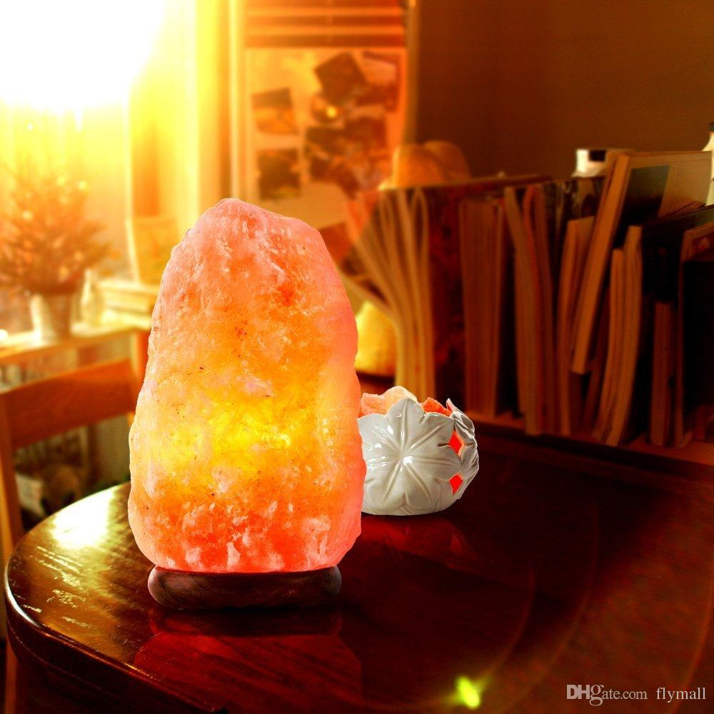 Natural Himalayan Crystal Rock Salt Lamp Hand Carved Plug-in Salt Night Light Lamps with Wooden Base, Bulb, Power Cord and Dimmer switch