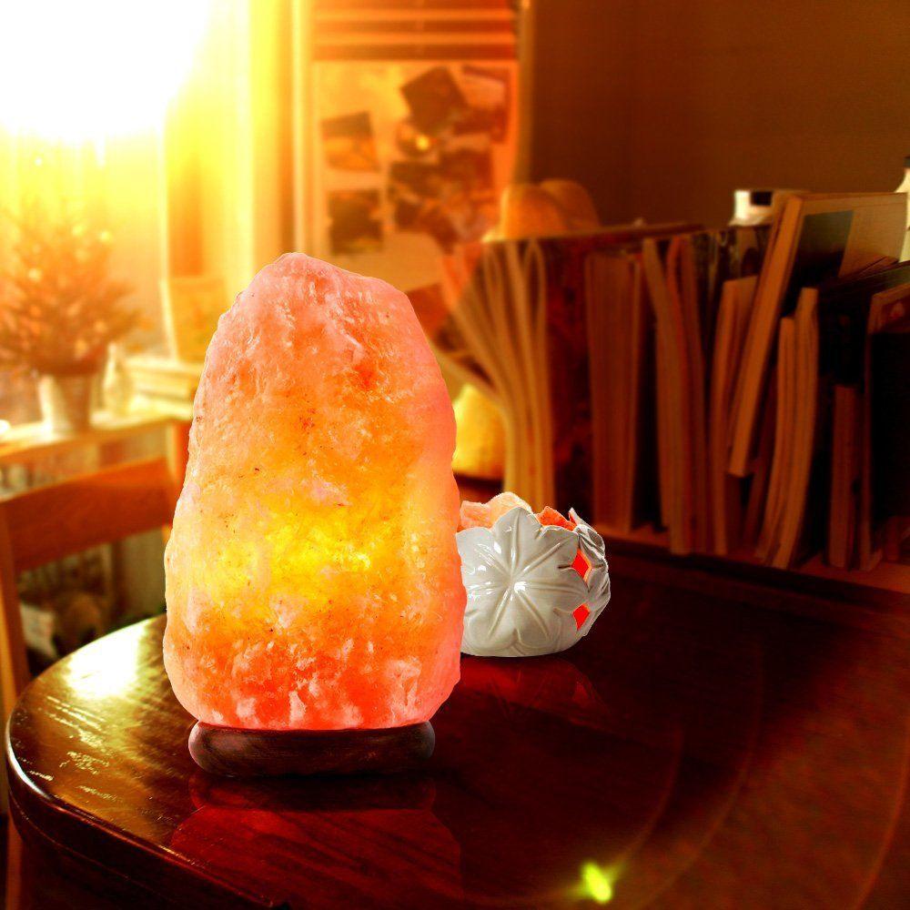 Natural Lâmpada de sal de pedra de cristal do Himalaia esculpido à mão Plug-in Lâmpadas de luz de noite de sal com base de madeira, bulbo, cabo de alimentação e interruptor de dimmer