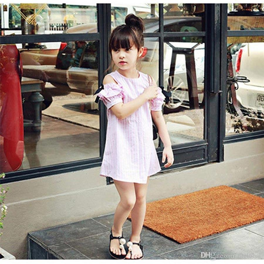 Summer Style Baby Girls Cute Striped Clothing Children's Clothes For Kids Little Girl Bow Dresses