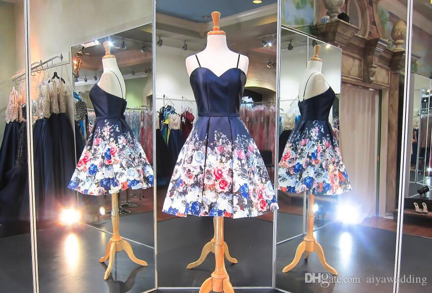 Floral Print Short Prom Dresses Spaghetti Straps A-Line Knee Length Low Back Navy and Romantic Red Blue Flowers Printed Satin Cocktail Gowns