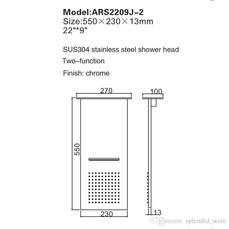 Modern bathroom shower heads 304 stainless steel polished 2 functions shower panel wall mounted rain, waterfall Douche