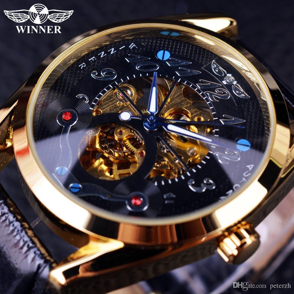 604844c460c Compre Vencedor Moda Casual Dial Preto Caso De Ouro Designer Homens  Relógios Top Marca De Luxo Esqueleto Automático De Luxo Relógio Homens  Relógio Homens De ...