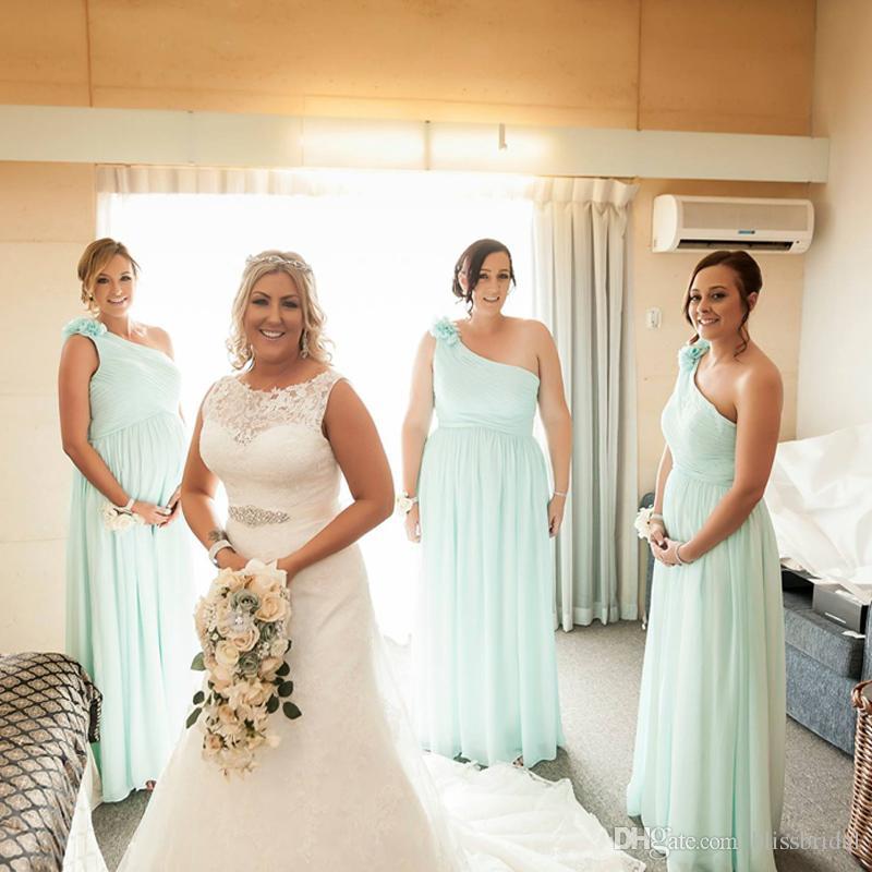 Free Sheep Elegant One-Shoulder Bridesmaid Dress Hand Made Flower Chiffon  A-Line Ruffle Formal Gown Long Cheap Prom Bridesmaids Desses