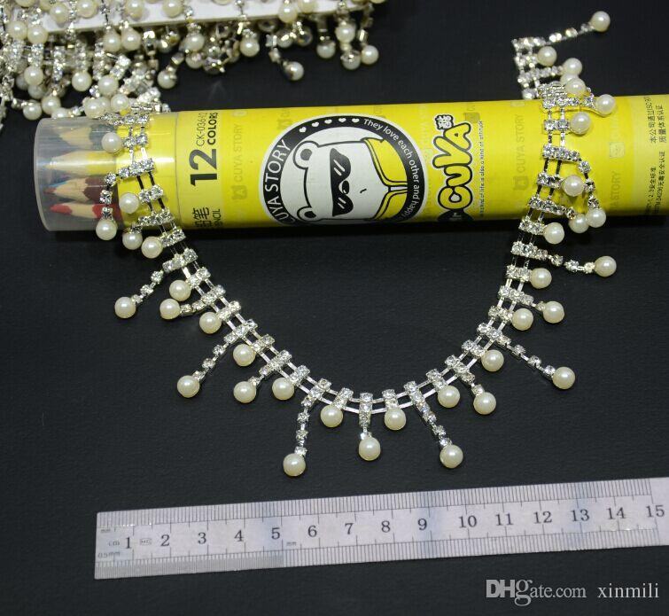 Expédition gratuite! 1 Yard / perle et chaîne de cristal strass trim costume de danse de mariée décor décor collier industriel applique accessoires