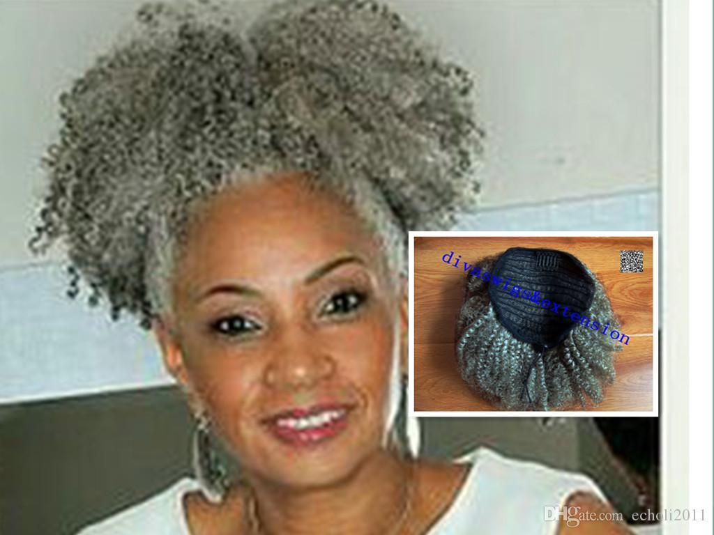 Gray Hair Afro Puff Clip In Black Curly Brazilian Virgin