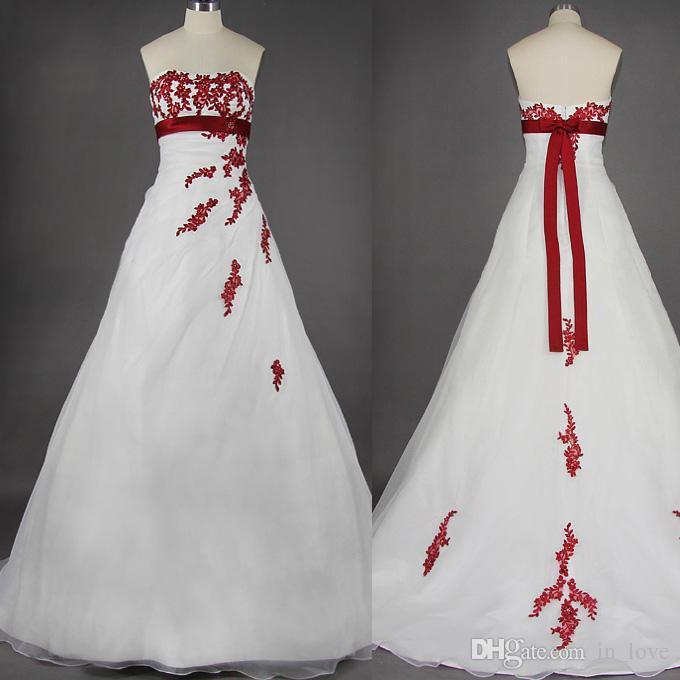 Vintage Design bianco e rosso abiti da sposa senza spalline alta impero giro vita Appliques pizzo A Line abiti da sposa su misura