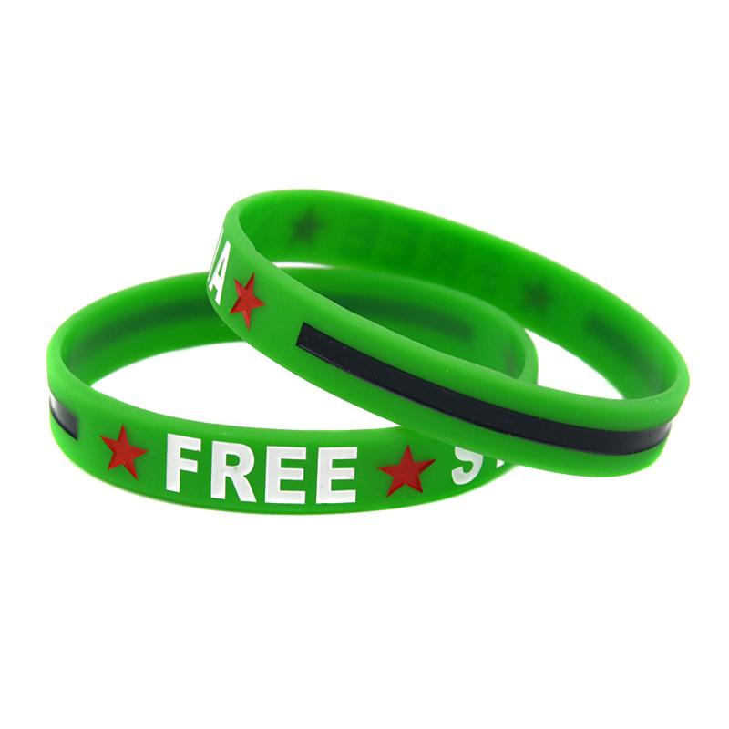 Hot Sell 1PC Free Syria Silicone Bracelet Decoration Wristband Ink Filled Colour Adult Size 3 Colours