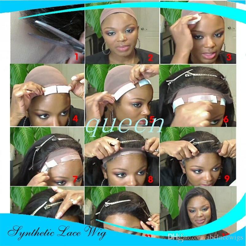 Synthétique Afro Kinky Perruques Avant de Lacet Naturel 1B Couleur Noir Résistant À la Chaleur Fibre Curly Fashion Perruques