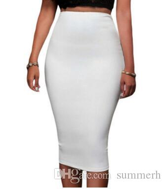 0271fca584e4 2019 Solid Black/Grey/Green Long Cotton Maxi Skirt Women Casual Slim High  Waist Bodycon Pencil Elastic Skirt Stretchy Saias Femininas Skirt 71188  From ...