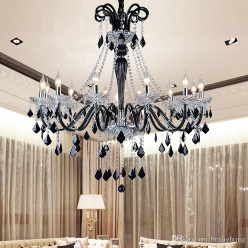 Black Crystal Chandeliers Led Transpa Light Modern Chandelier Pendants Dining Room Bedroom Shade