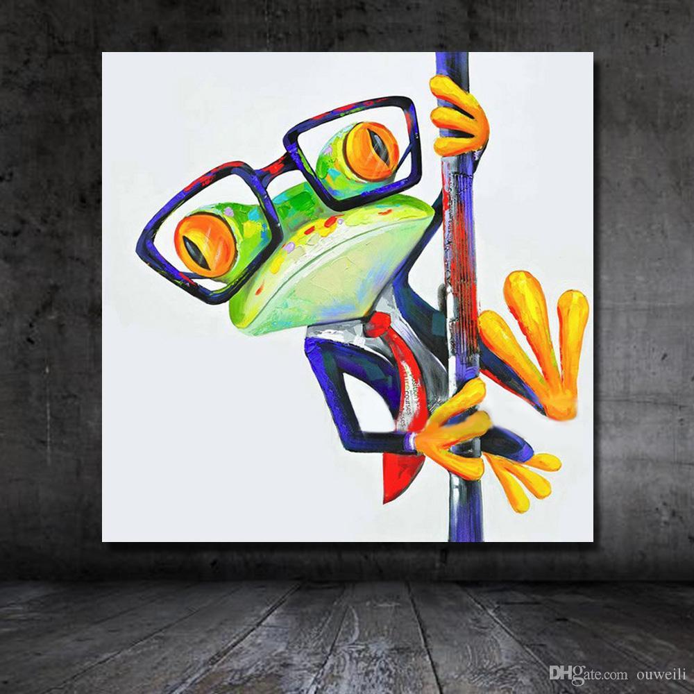 Imágenes divertidas de la historieta del diseño decorativo del envío libre de las imágenes de la pared de la lona de la pintura al óleo de las ranas para el dormitorio