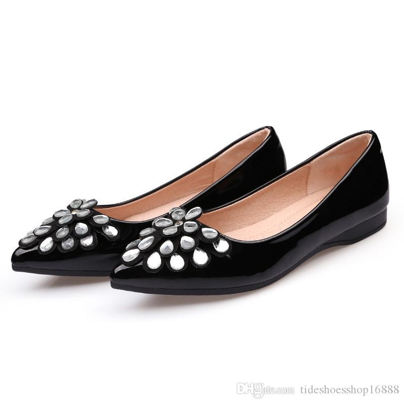 dd416173181d 2017 Fashion Patent Leather Rhinestone Party Shoes for Flats Women ...