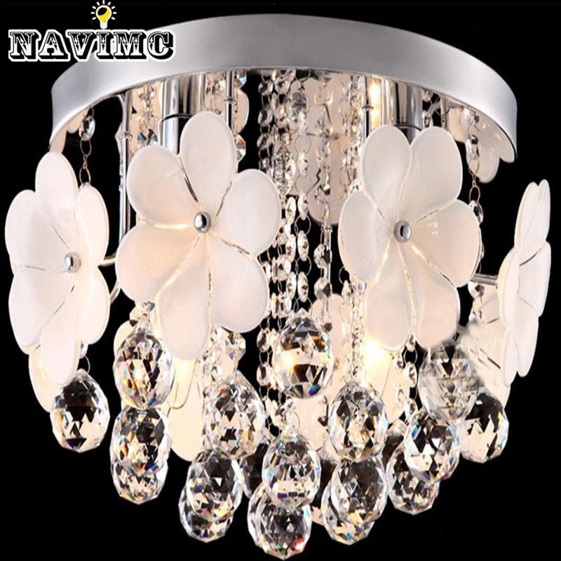 Flush Mounted Flower Crystal Chandelier Light Fixture Cristal Res Aisle Porch Hallway Corridor Lamp For Ceiling Lighting Hanging Lamps From