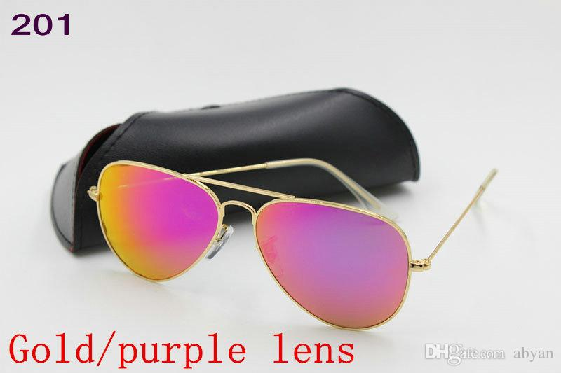 High Quality Mens Womens Designer Pilot Sunglasses Sun Glasses Gold Flash Green Mirror Glass Lenses 58mm 62mm UV Protection Box Cases