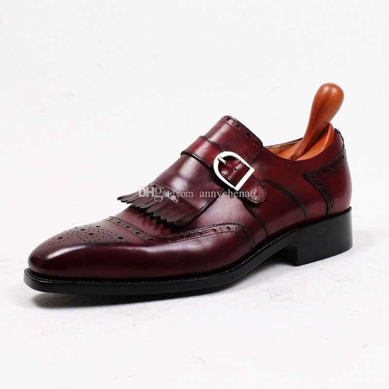 Chaussures habillées pour hommes Chaussures Oxford Chaussures moine Chaussures à la main personnalisées à bout carré avec lanière simple Cuir de veau véritable Couleur bordeaux HD-N176