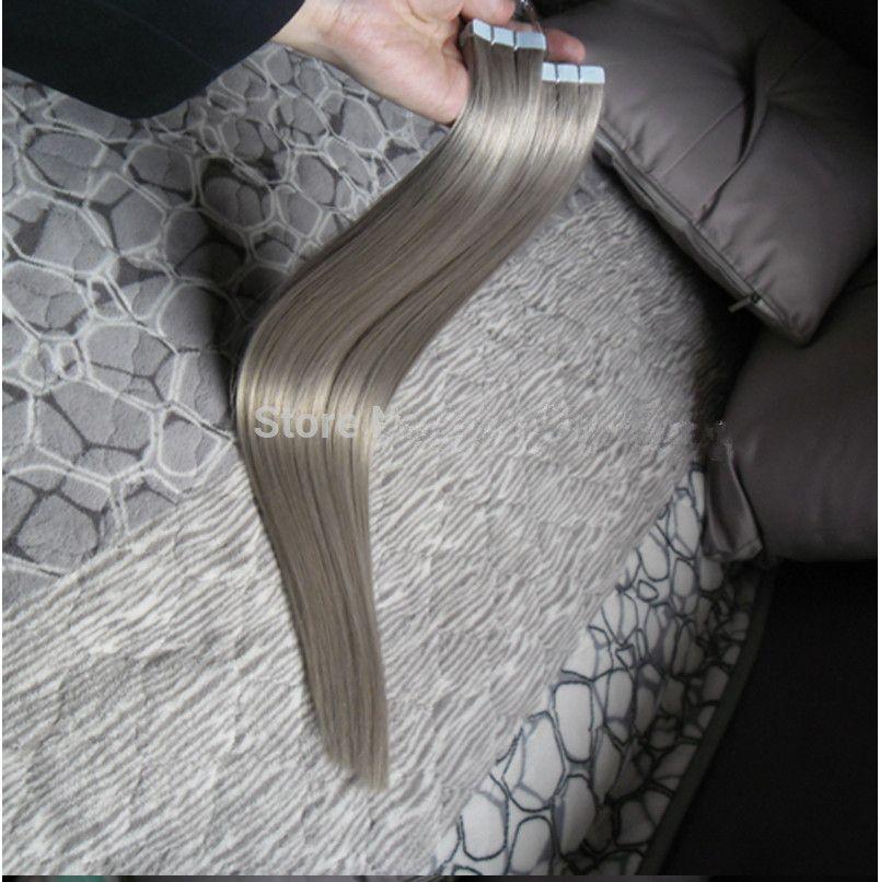 8a grade Silber Grau Farbe Haarverlängerungen Brasilianisches Band In Remy Haar Gerade hiar Schuss PU 100g menschliches Haar extensions Band in