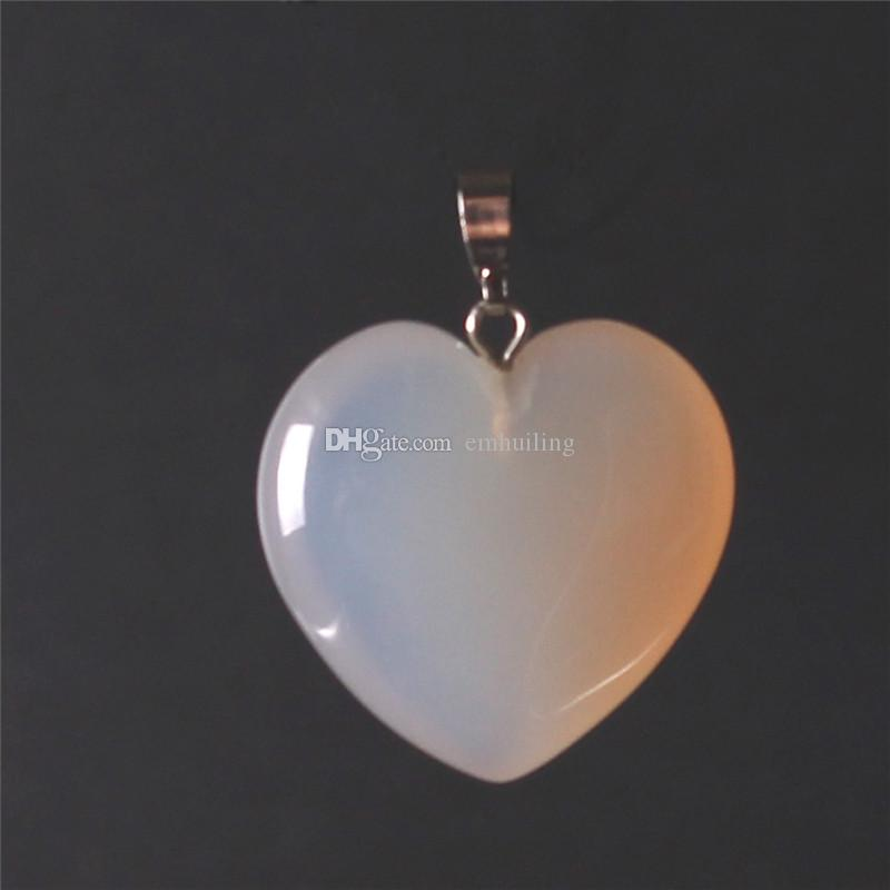 24*25mm Heart Shape Healing Chakra Beads Crystal Quartz DIY Stone Random Color Gemstone Pendants for Necklace Earring Jewelry Making