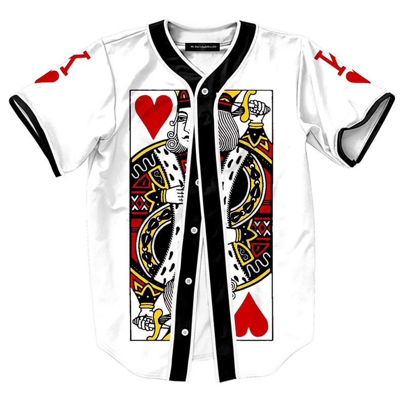 3d playing cards printed baseball jerseys short sleeves t Designer baseball shirts