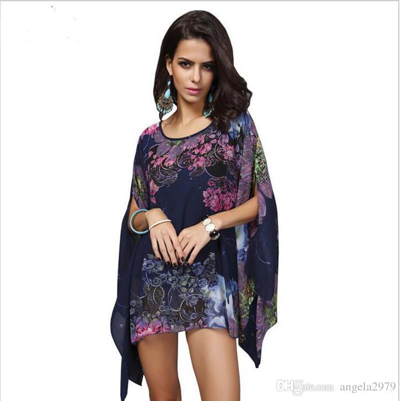 35b81ed4b9c9c8 2019 Boho Batwing Sleeve Chiffon Blouse Women Casual Floral Print Loose  Kimono Shirts Big Size Beach Tunic Tops Peplum Blusas Robe 023 From  Angela2979, ...