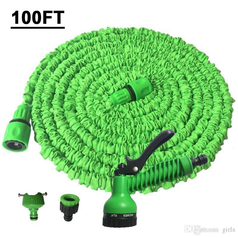 100FT Triplo Expansível Flexível Mangueiras Mangueira de Água Jardim Mágico Com Pulverizador Bico Pulverizadores de Pulverização de Plantas de lavagem de Plantas de rega Preço de Fábrica