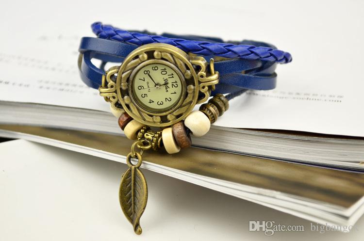 Orologio da polso con cinturino in corda intrecciata moda vintage Bracciali in pelle etnici indiani platino con cinturino in foglia