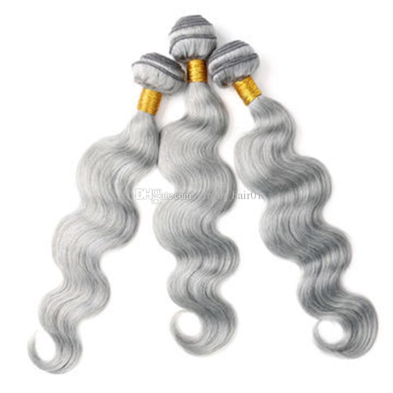 Şerit Gri Demetleri Vücut Dalga Malezya Bakire Insan Saç Örgüleri 8a Sınıfı Vücut Dalga İnsan Saç Uzantıları 3 Adet / grup Çift Atkı