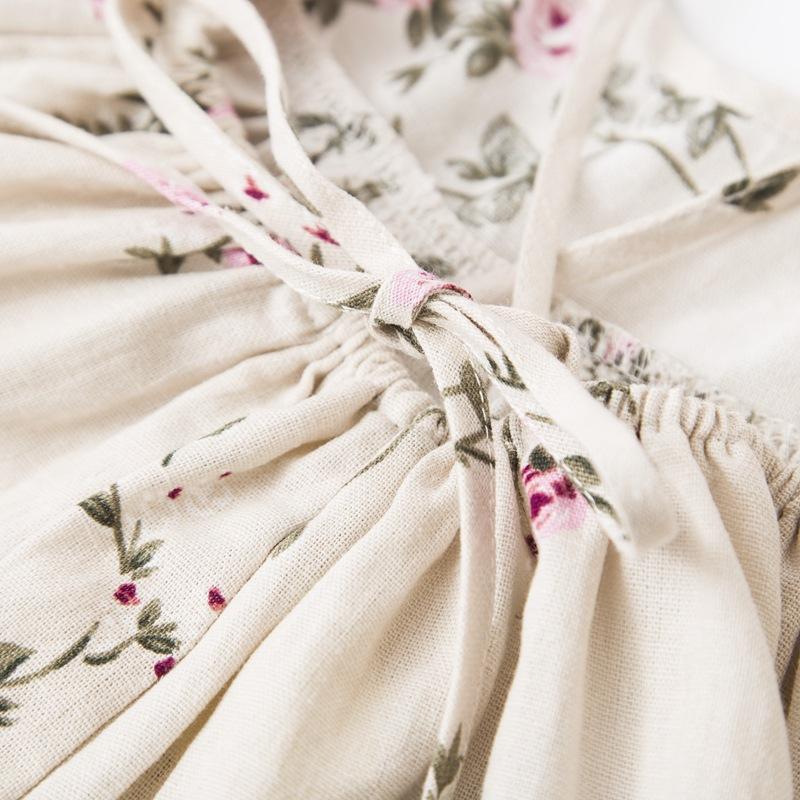 Everweekend Girls Summer Floral Print Halter Sundress Party Dress with Headbands Backless Sweet Children Cotton Linen Cute Dress