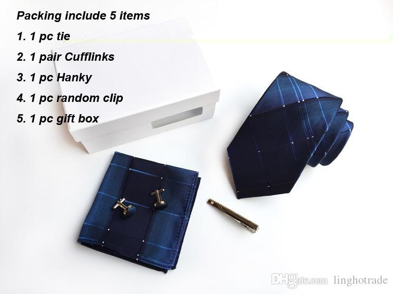 Nueva marca Striped DotMen Neck Ties Clip Hanky Gemelos conjuntos formal del banquete de boda del negocio del lazo de la tela escocesa para hombre corbata K03