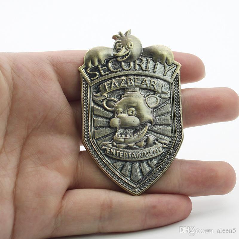 Kostenloser Versand Wholesale-5 Nächte bei Freddys Fazbear Sicherheitsabzeichen Pin Antike Bronze vernickelt FNAF