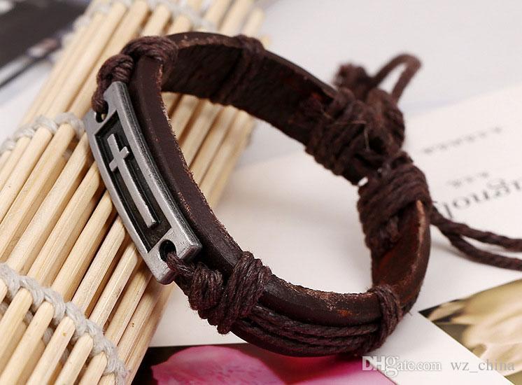 PU Bracelet En Cuir Rétro Écriture Croix Main Bijoux Tissé Religieux Bijoux Tressé Amitié Vintage Bracelets Nouvelle Arrivée