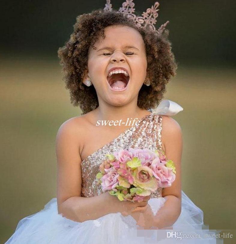 Vintage 2020 une épaule Paillettes Fleur Filles Robes Mariages Robe demoiselle d'honneur junior Princess Party formelles filles Pageant Robes